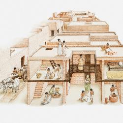 Illustration des maisons typiques à Mojenjo-Daro
