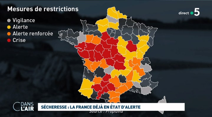 Carte de France des restrictions d'eau