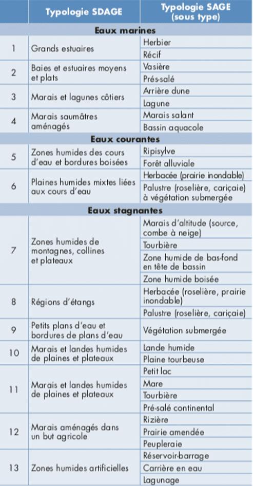 Typologie selon le Stadge (Source : les cahiers de l'eau)