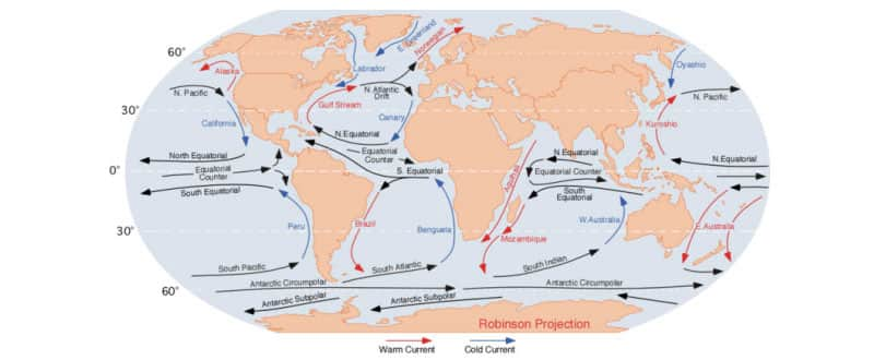 Cartographie des courants de surface à l'échelle planétaire (source : Wikipédia)